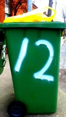 number 12 on a bin